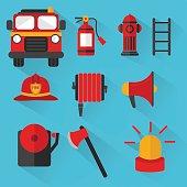 Fireman Vector , Set of firefighting equipment