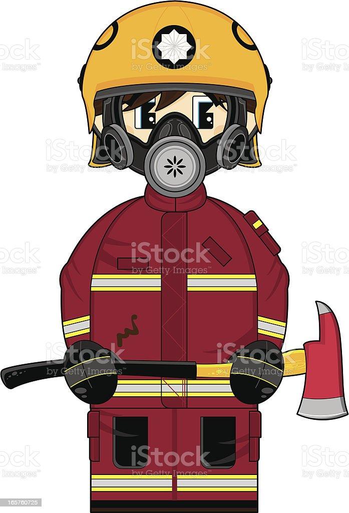 Fireman with Axe and Respirator vector art illustration