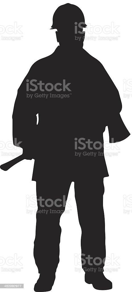 Fireman with axe silhouette vector art illustration
