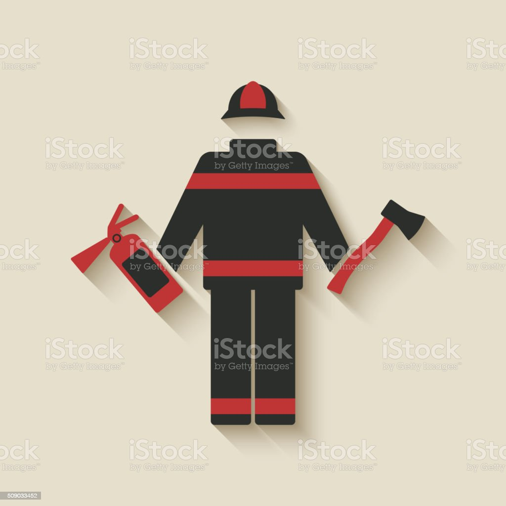 Fireman with extinguisher and axe vector art illustration
