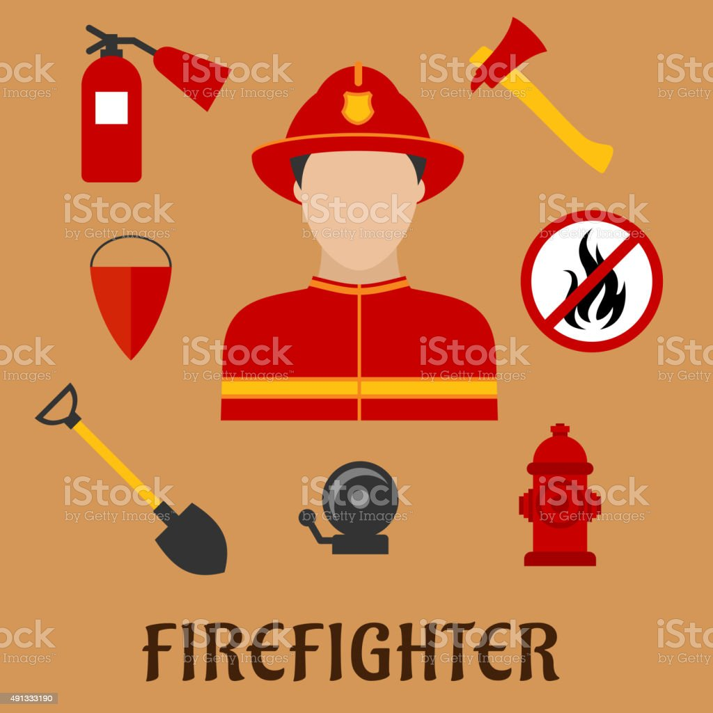 Fireman with fire fighting tools, flat icons vector art illustration