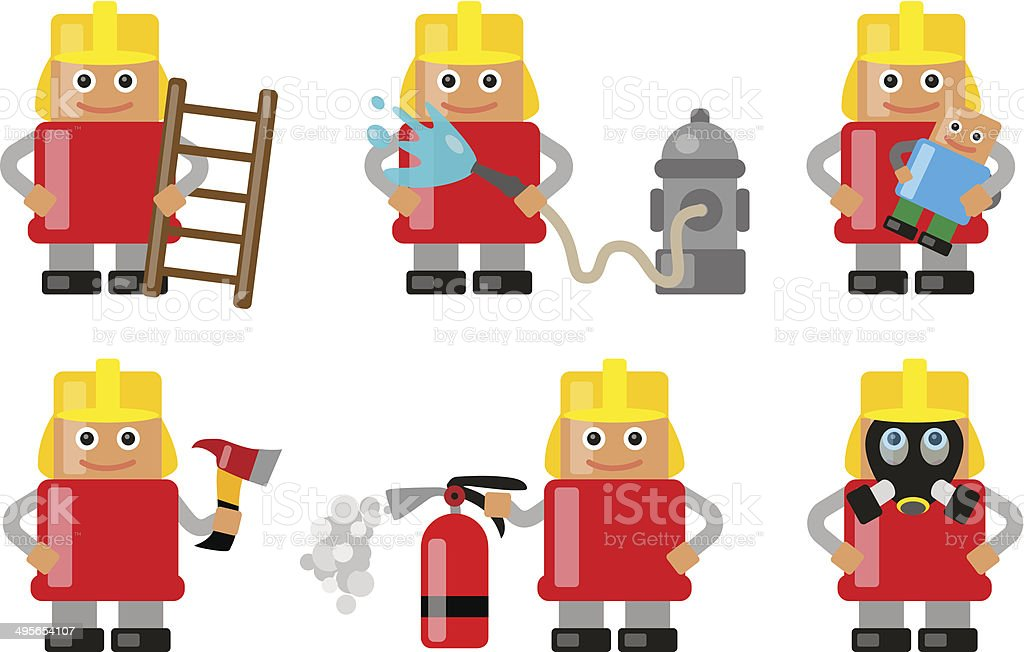 Fireman with various objects and situations vector art illustration