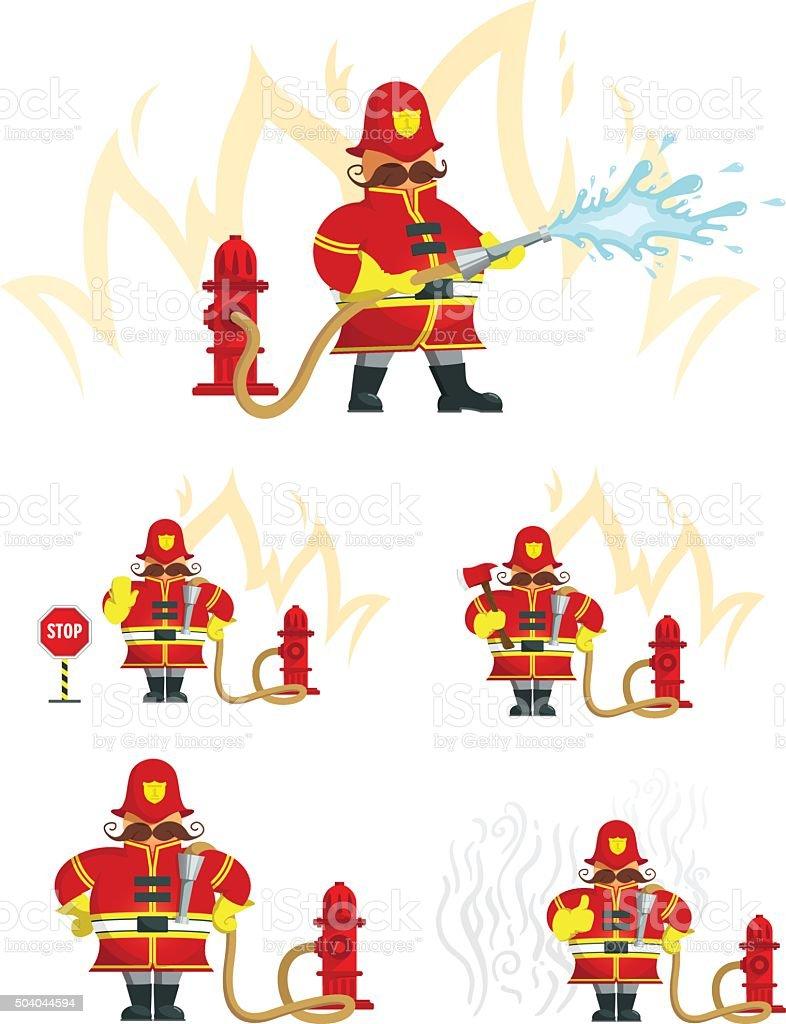 Fireman_characters vector art illustration