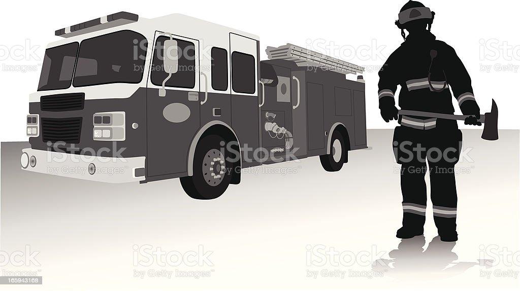 Fireman'n Axe Vector Silhouette royalty-free stock vector art