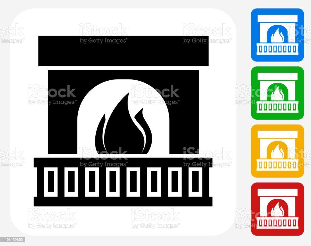 Fireplace Icon Flat Graphic Design vector art illustration