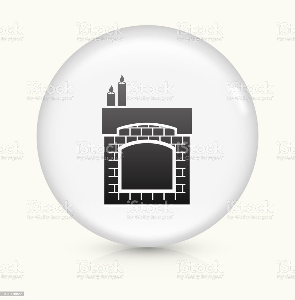 Fireplace icon on white round vector button vector art illustration