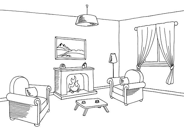 Fireplace Living Room Interior Graphic Black White Sketch Illustration Vector Art