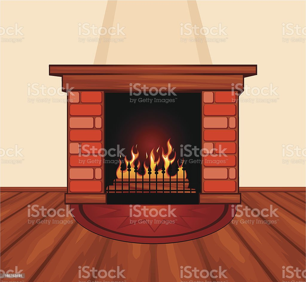 Fireplace vector art illustration