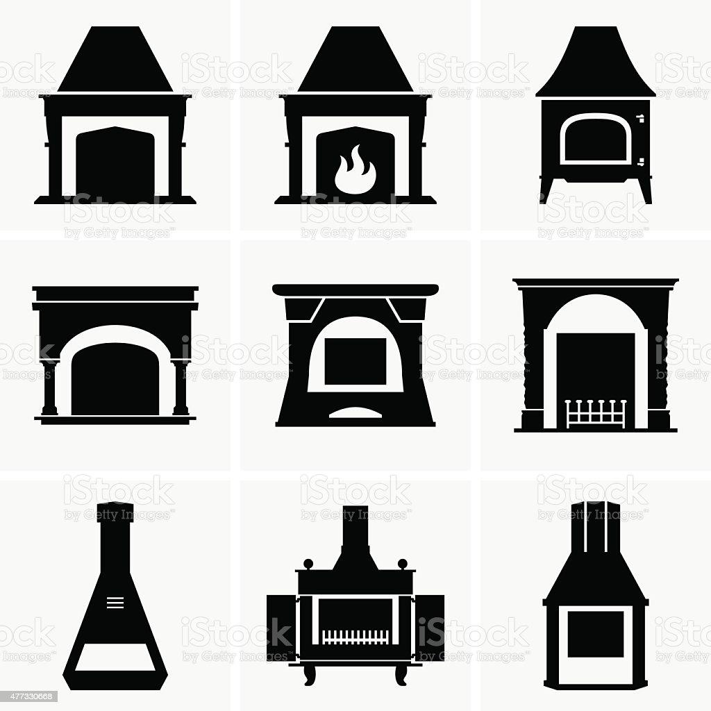 Fireplace vector art illustration