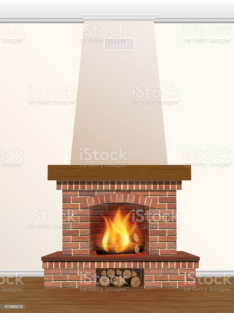 Fireplace with burning fire vector art illustration