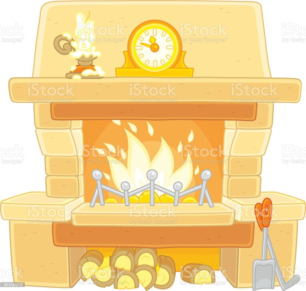 Fireplace with burning firewood vector art illustration