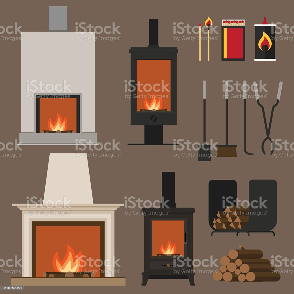 Fireplaces vector art illustration