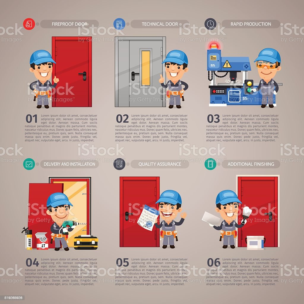 Fireproof Door Production vector art illustration