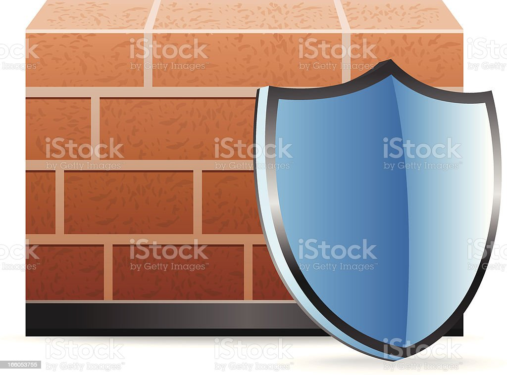 Firewall with Shield royalty-free stock vector art