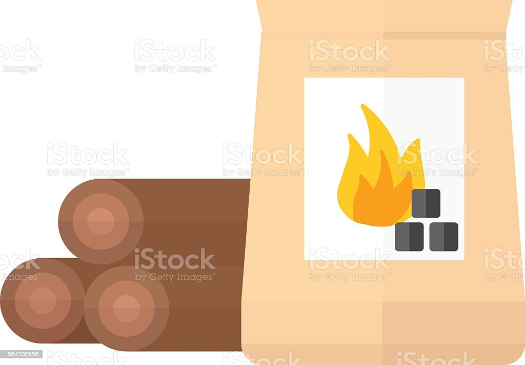 Firewood and charcoal vector illustration. vector art illustration