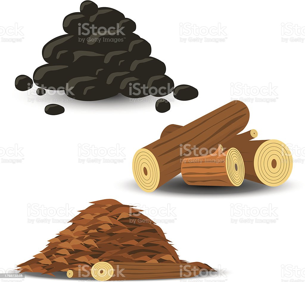 Firewood, Wood Chips and Coal vector art illustration