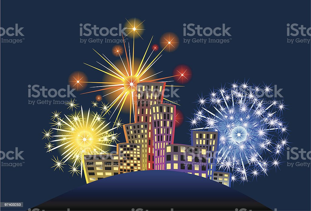 Firework above the city royalty-free stock vector art