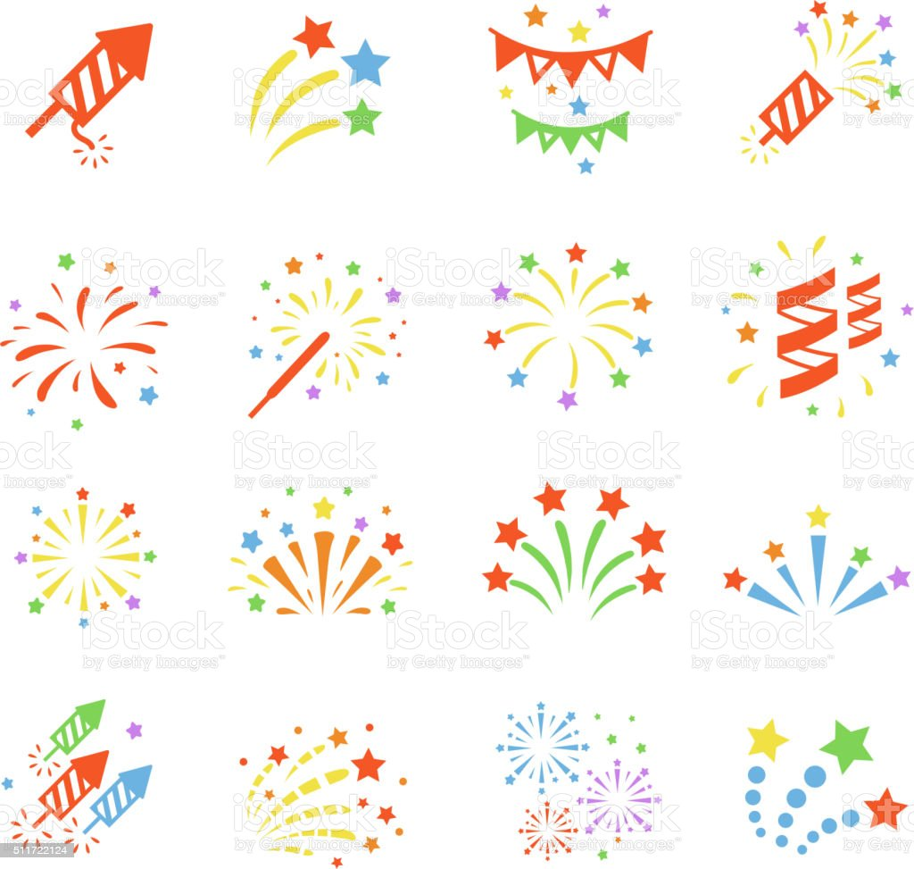Firework color icon set with  burst petard, stars. Festival  celebrate vector art illustration