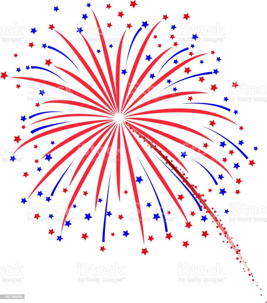 Firework design on white background vector art illustration