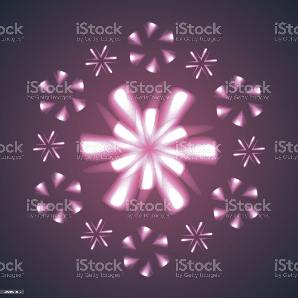 Firework Flowers and Snowflakes. royalty-free stock vector art