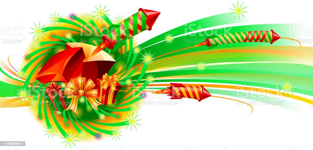 Firework gift and surprise royalty-free stock vector art