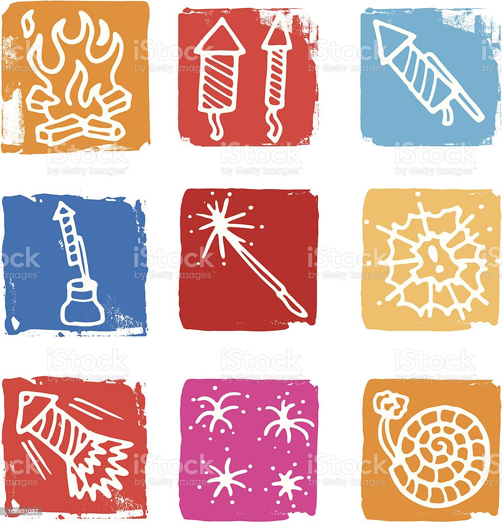 Firework icon set vector art illustration