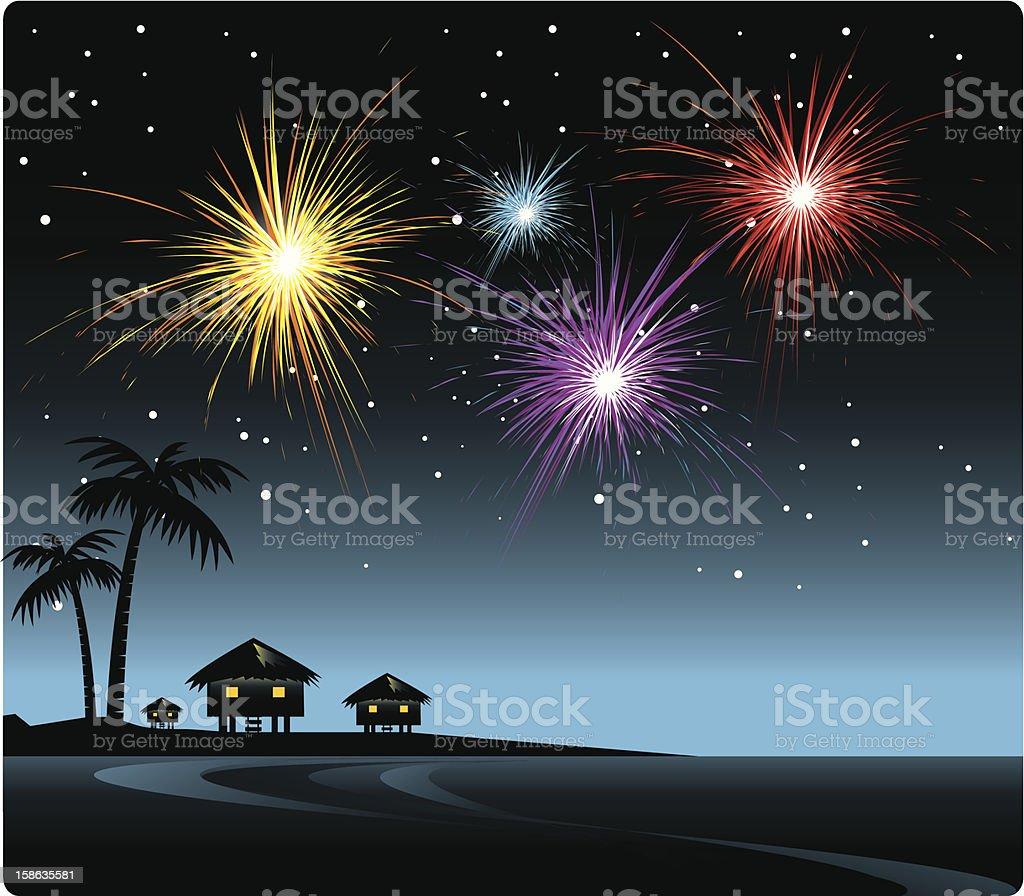 Firework on the Beach vector art illustration