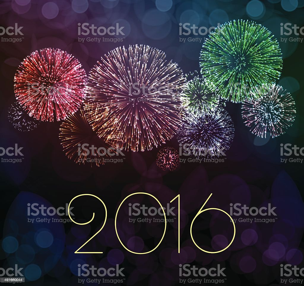 Fireworks 2016 vector art illustration