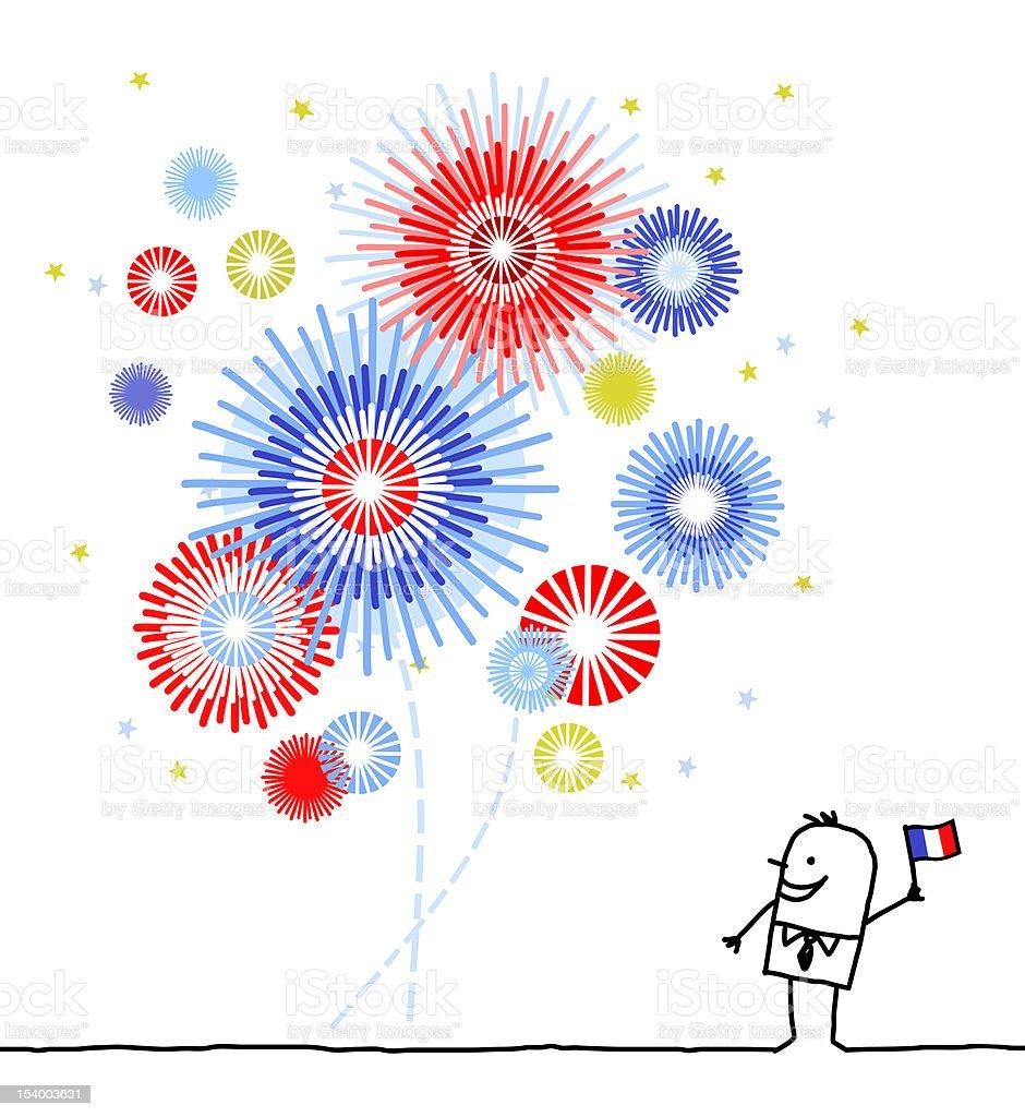 fireworks & national french holiday vector art illustration