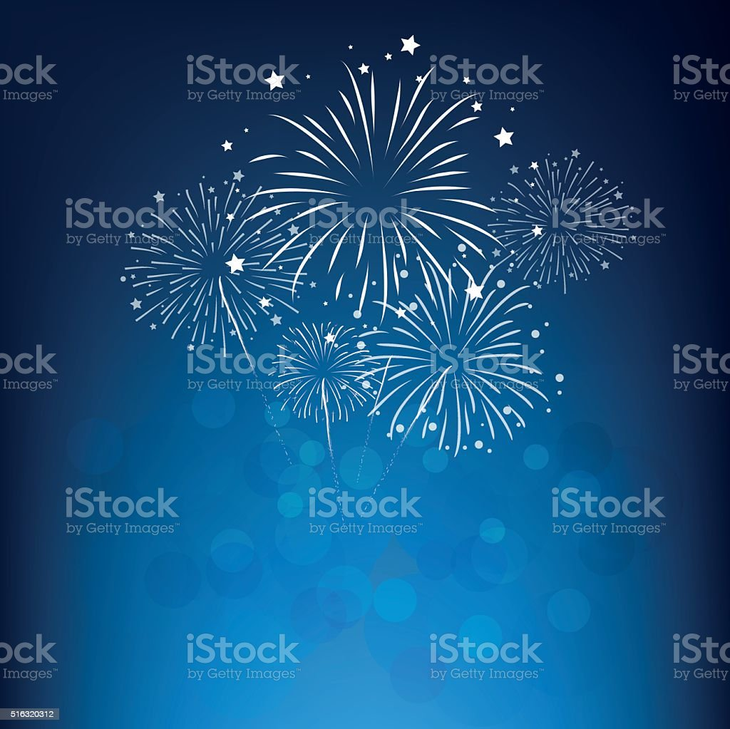 fireworks and happy new year vector art illustration