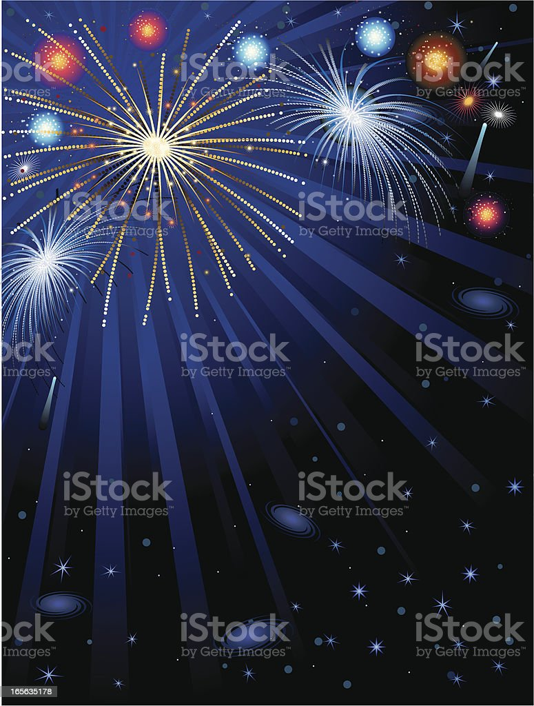 Fireworks and night sky background vertical royalty-free stock vector art