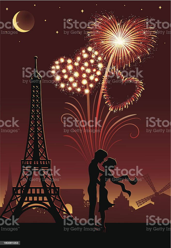 Fireworks and Paris. royalty-free stock vector art