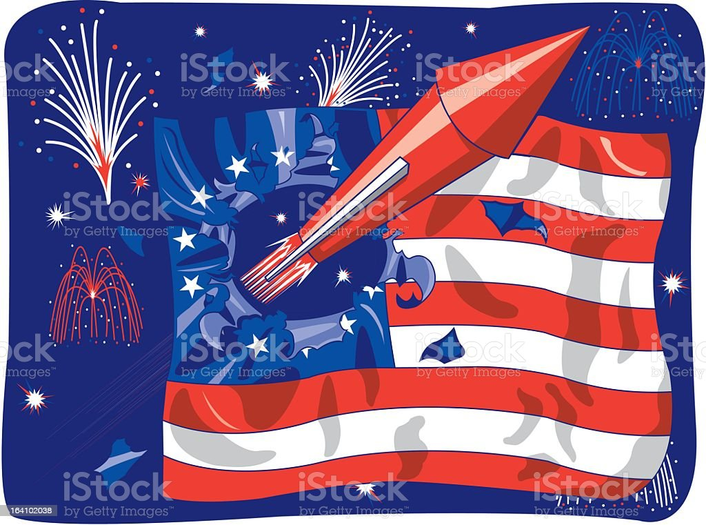 Fireworks and the American Flag royalty-free stock vector art