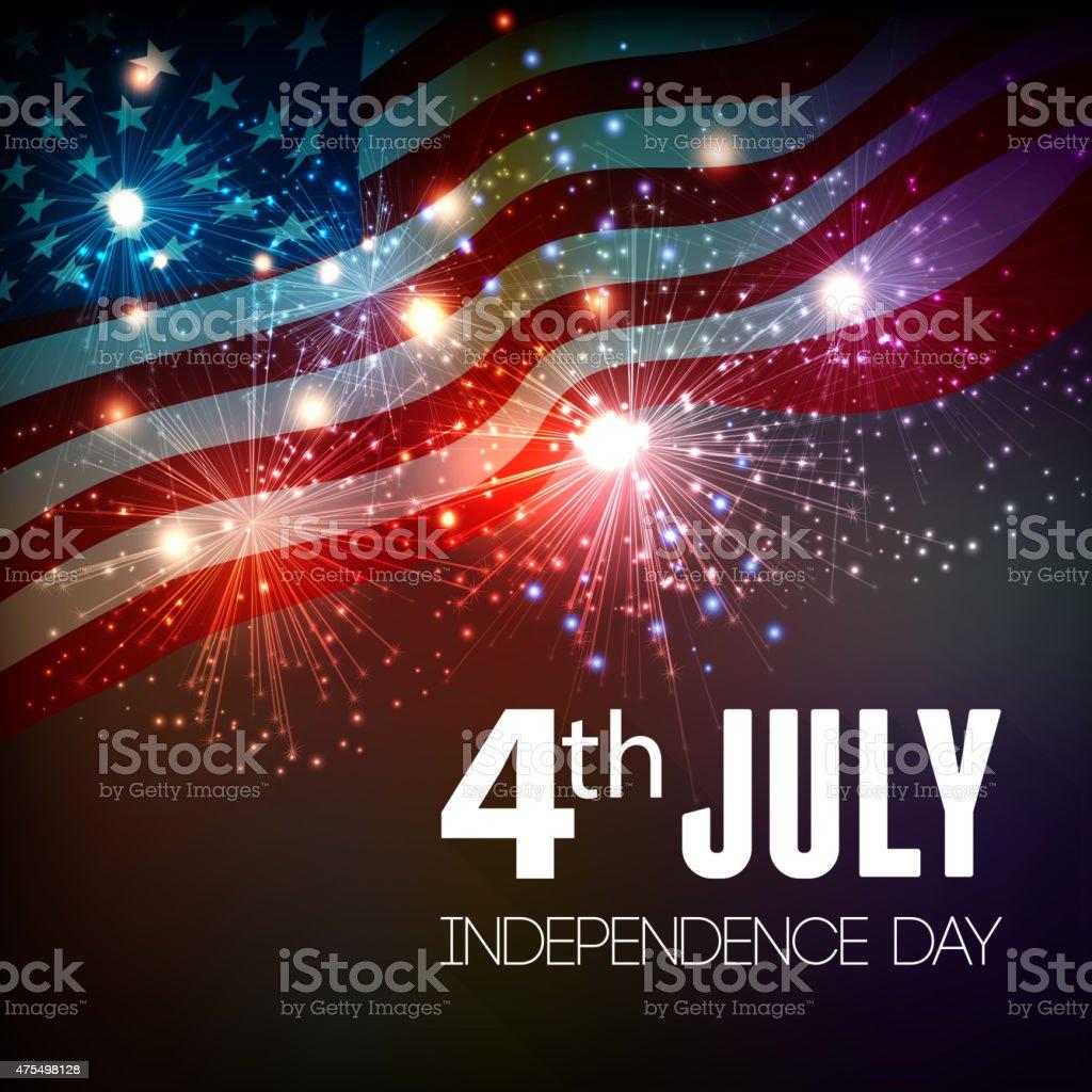 Fireworks background for 4th of July vector art illustration