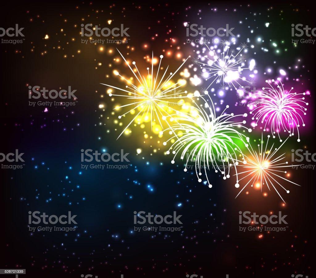 fireworks background vector art illustration