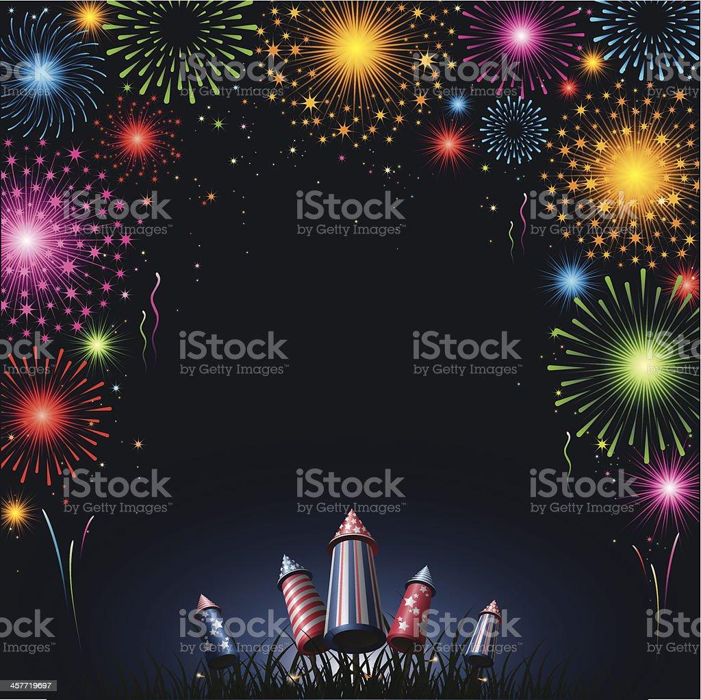 Fireworks - border vector art illustration