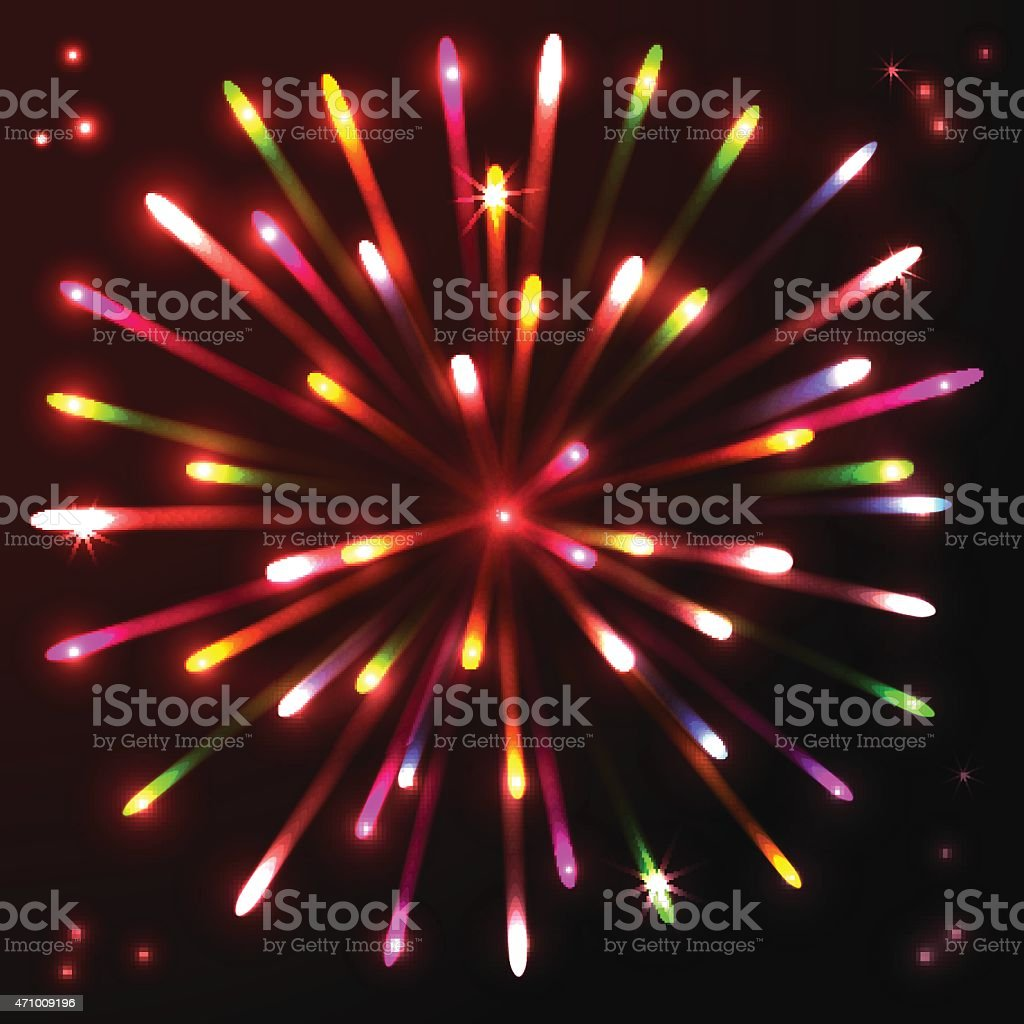 Fireworks celebration anniversary colorful salute  background vector art illustration