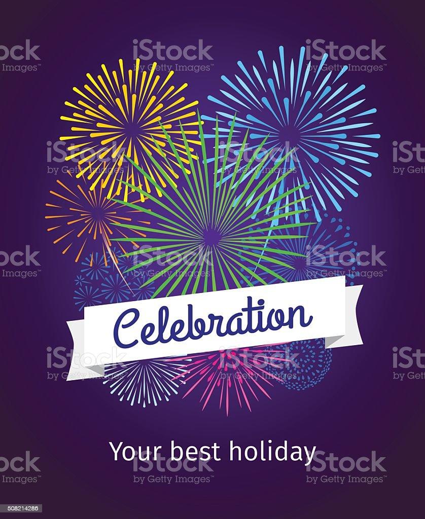 Fireworks celebration card template vector art illustration