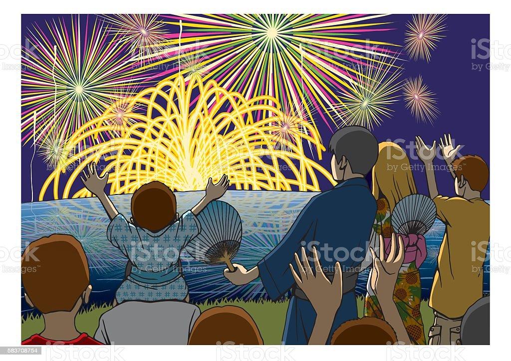 Fireworks Festival vector art illustration