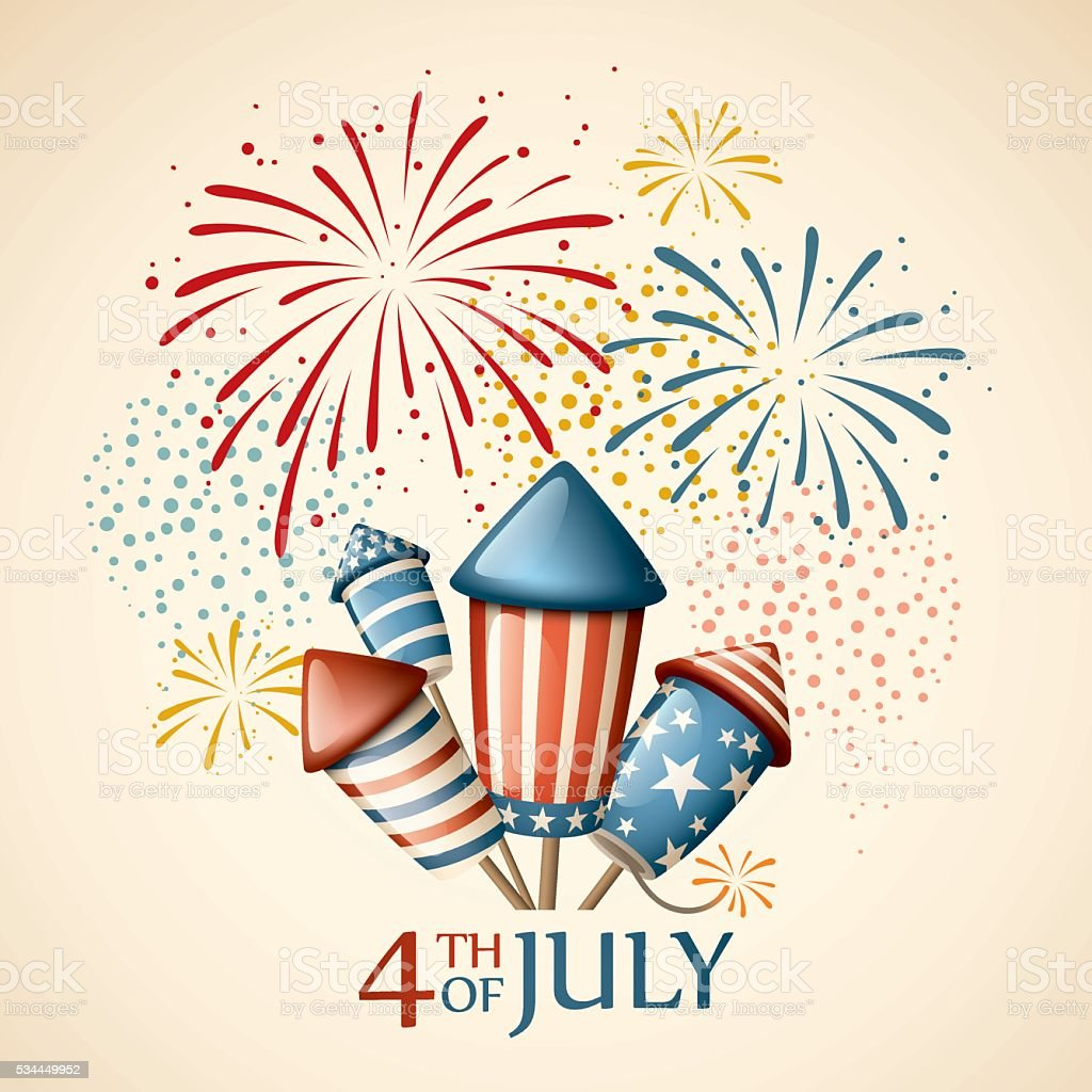 Fireworks - fourth of july vector art illustration