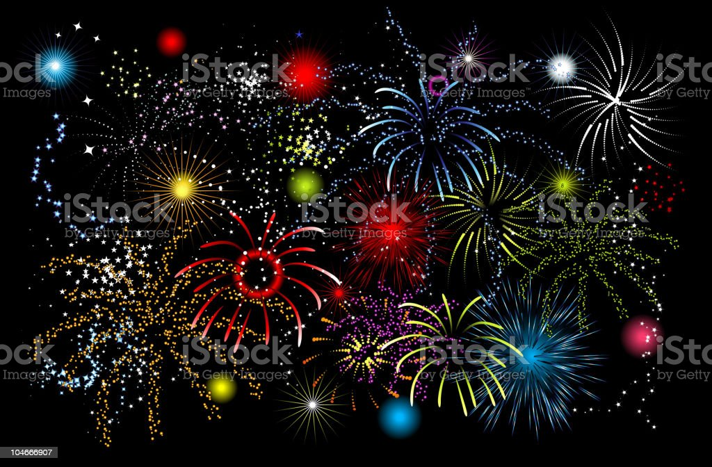 Fireworks, holiday night royalty-free stock vector art