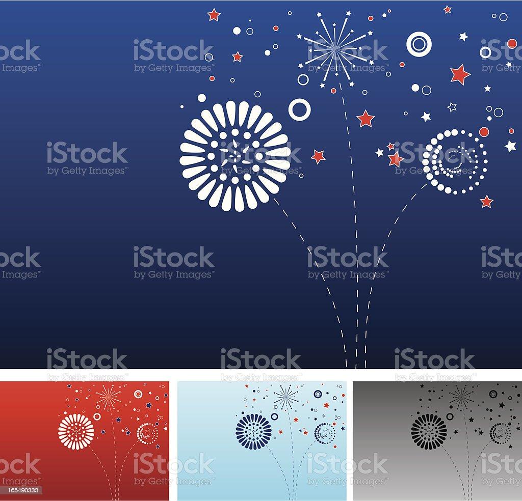 Fireworks in American Colours vector art illustration