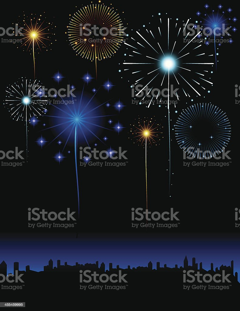 Fireworks in the City vector art illustration