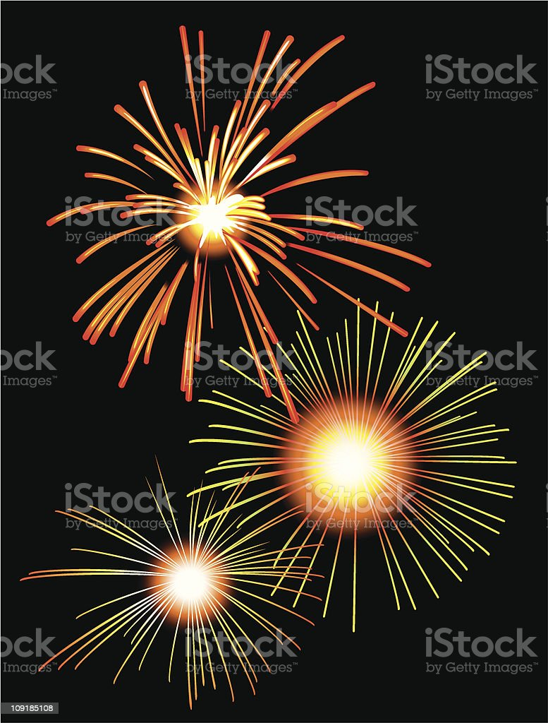 Fireworks in the night sky royalty-free stock vector art