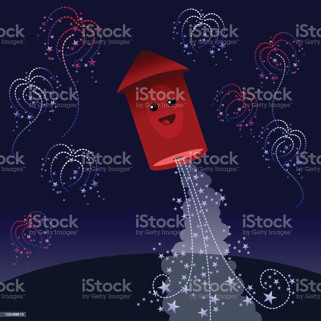 Fireworks in the night vector art illustration
