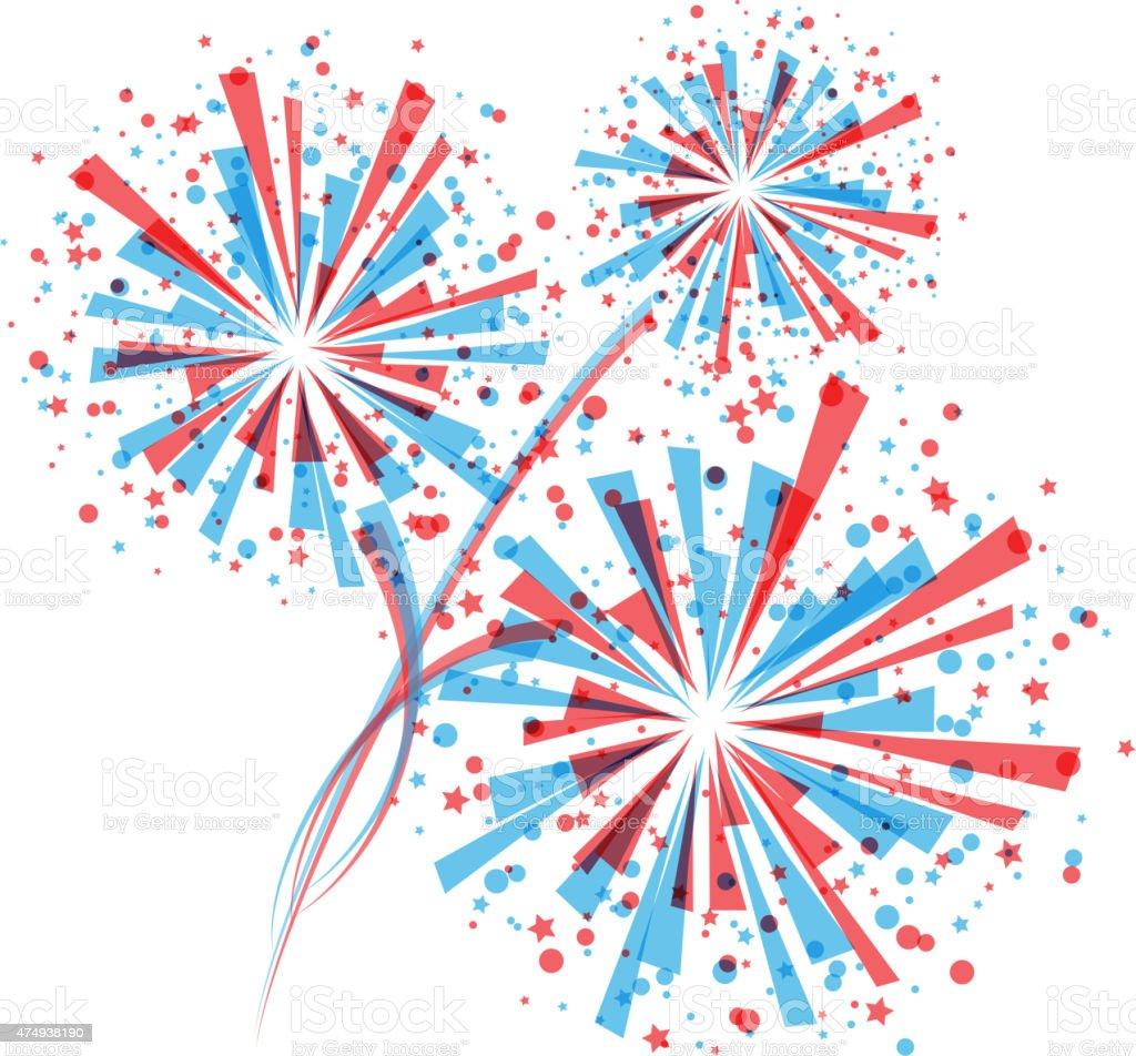 Fireworks in white vector art illustration