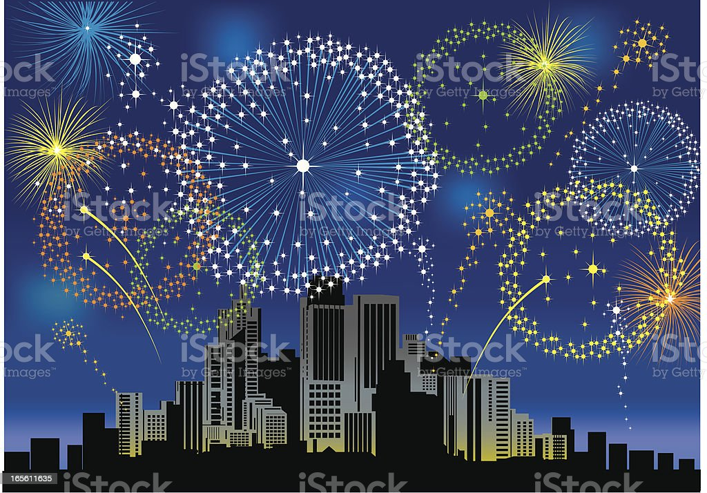 Fireworks over a City royalty-free stock vector art