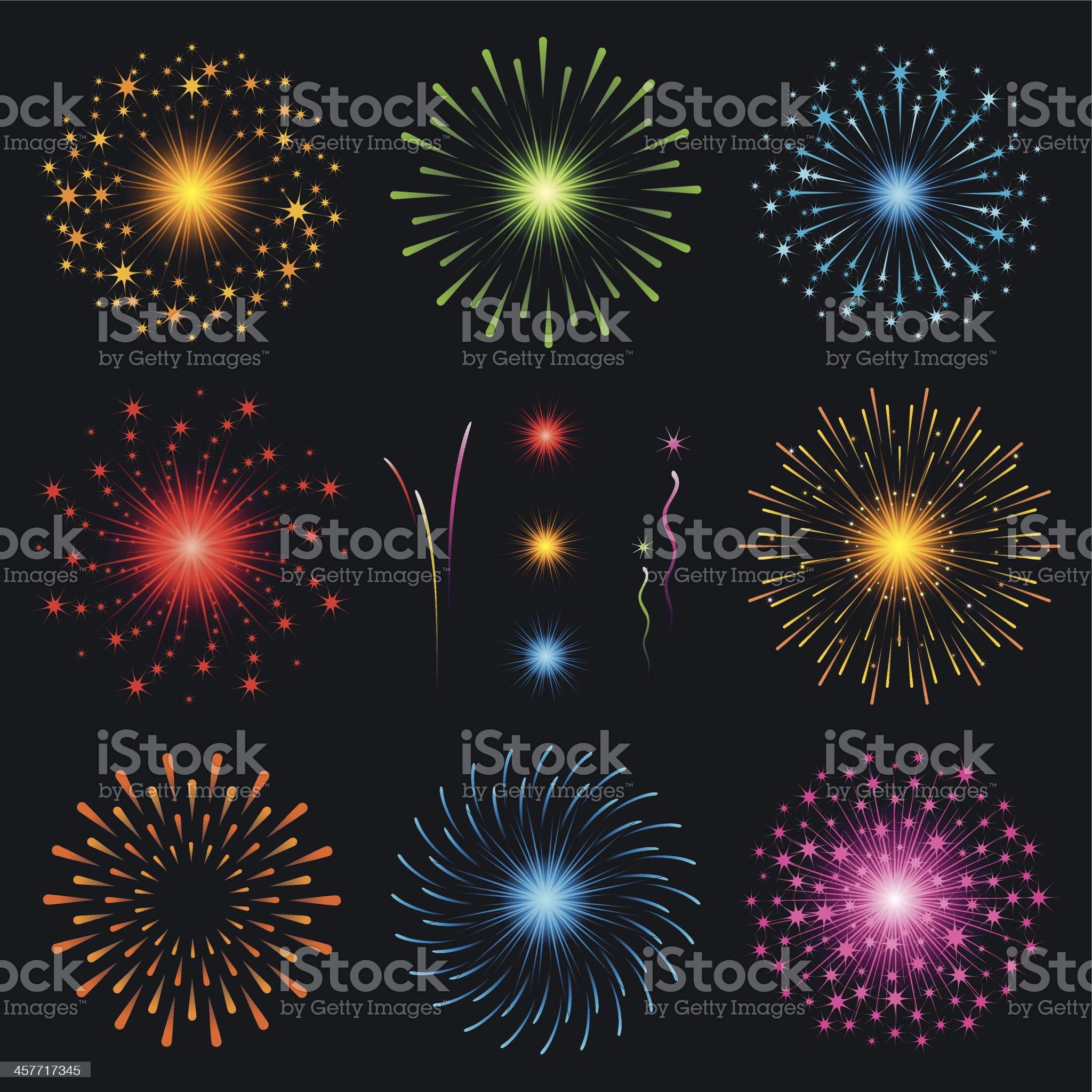 Fireworks - set royalty-free stock vector art