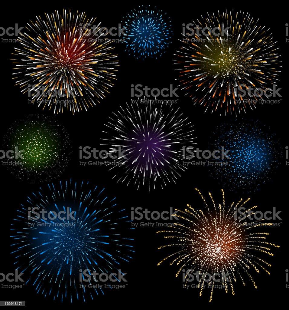 Fireworks vector art illustration