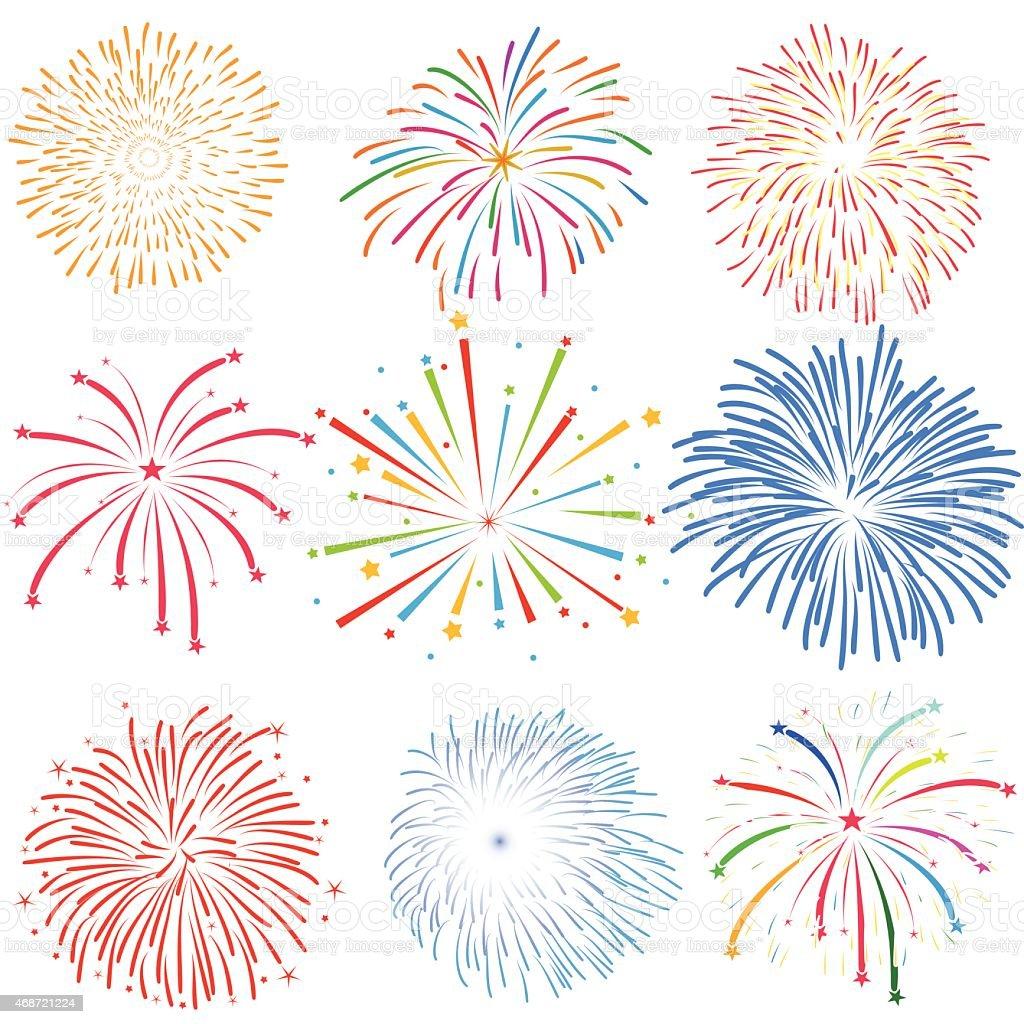 Fireworks vector on white background vector art illustration